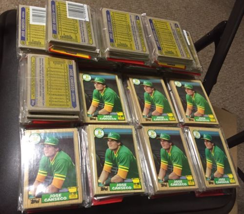Lot of (20) 1987 Topps Baseball Rack Packs Jose Canseco on Top/Front