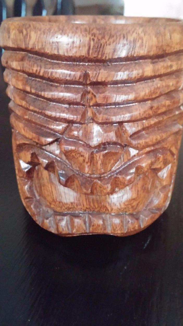 Vintage Carved Wood Tiki Mask Wooden Polynesian Mug Cup Coffee Tea Decor