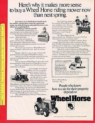 Vintage 1978 WHEEL HORSE RIDING LAWN MOWER Original Print Advertisement