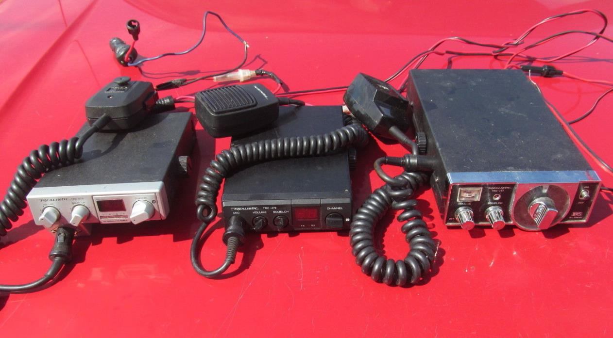 LOT OF 3 REALISTIC CB RADIOS + MICROPHONES - TRC 415 - TRC 479 - TRC 467 - USED