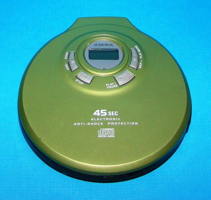 Audiovox DM8703-45 Green Portable CD Player Electronic Anti-Shock Works