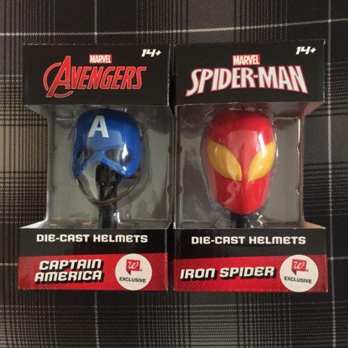 Marvel Captain America & Iron Spider Die-Cast Metal Helmets Walgreens Exclusive
