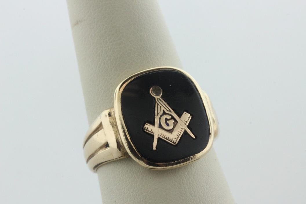 Vintage 10K Yellow Gold Onyx Masonic G Compass Men's Freemason Ring - Size 10