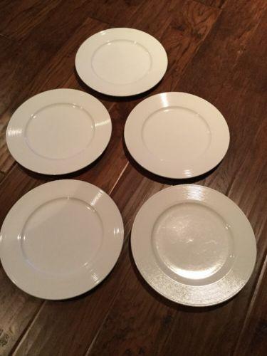 Ginori RG Pagnossin Italy Condotti White Rings 5 Dinner Plates