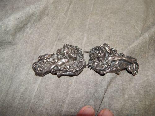 Large KERR Sterling Silver ART NOUVEAU Belt Buckle #801