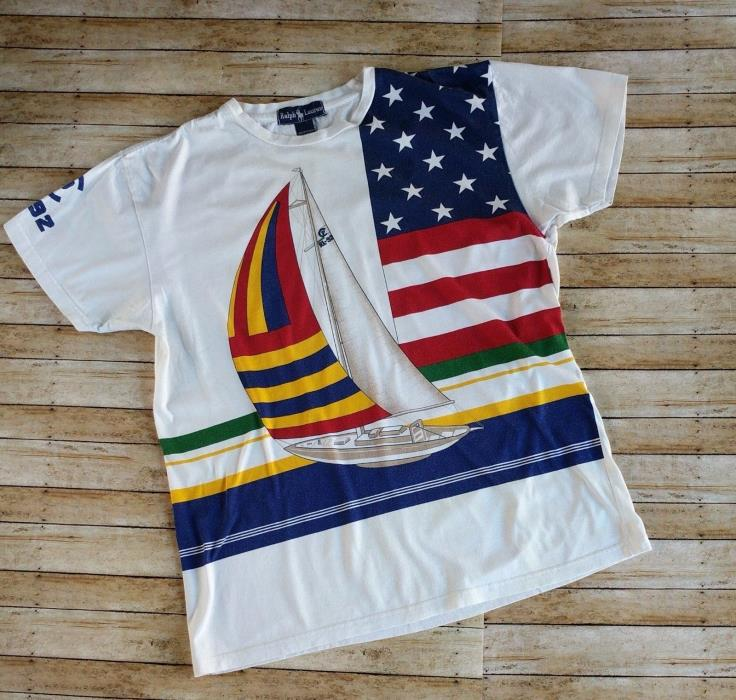 b81e4da60056c Vintage Polo Ralph Lauren Stadium Indian RARE Sailing T Shirt RL 92 1992