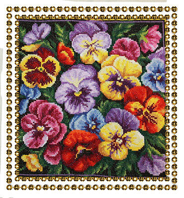 handmade cross stitch flowers violets embroidery needlework gift home decor