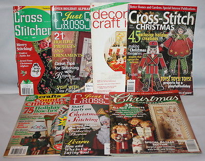 Lot of 7 Cross Stitch & Crafts Holiday Christmas Cross Stitch Magazines