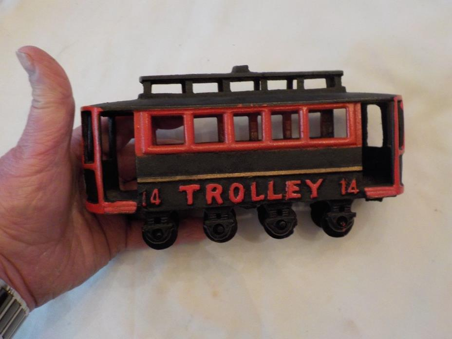 VINTAGE CASTIRON TROLLEY CAR NO.14