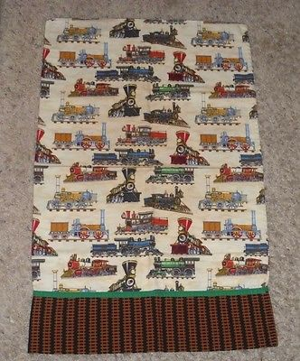 VINTAGE STEAM TRAIN STEAM LOCOMOTIVE PILLOW CASE COVER