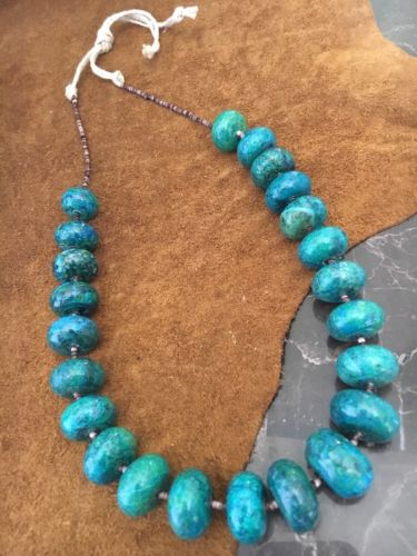 Chunky Turquoise Purple Oyster Heishi Necklace Bold howlite stone 20-24