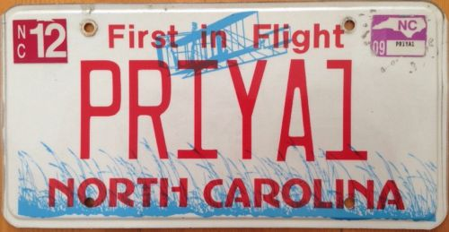 North Carolina vanity PRIYA 1 license plate Priyanka NC