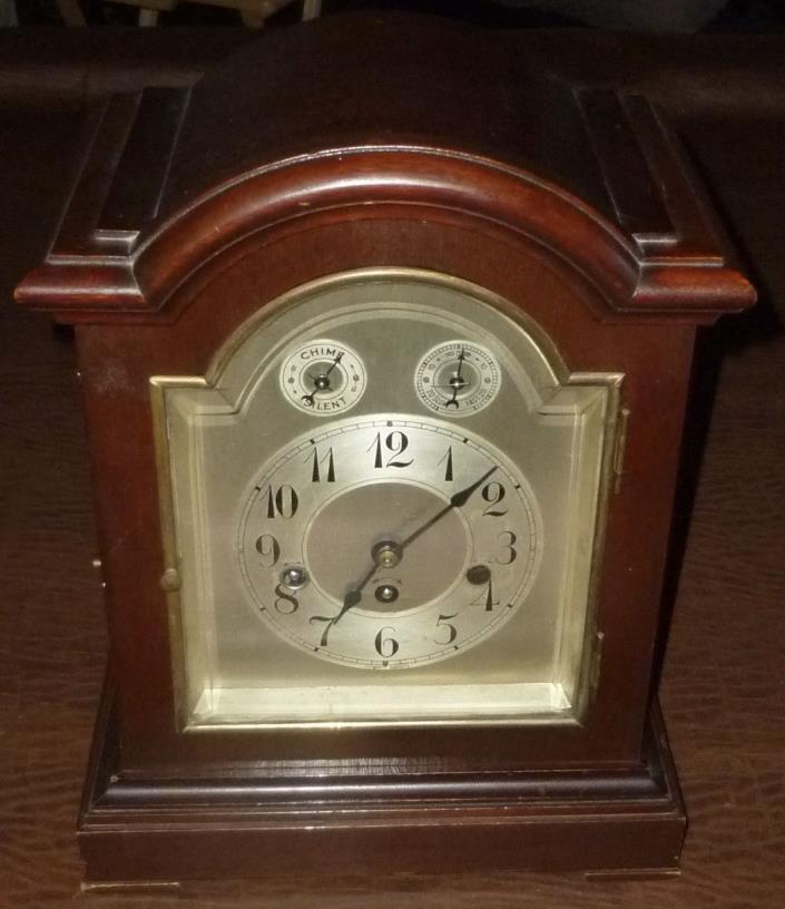 Antique Junghans Germany Mahogany Clock Quarter Chime Needs Repair For Parts