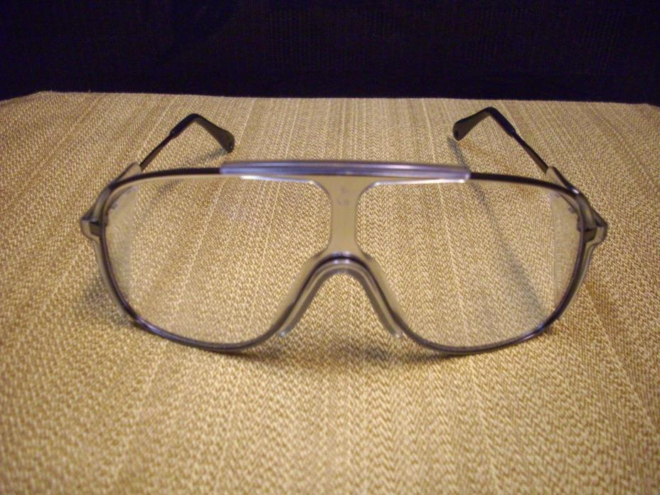 Vtg. New 1980's Willson Spectra II Safety Eyeglasses Guards Clear Frames Black