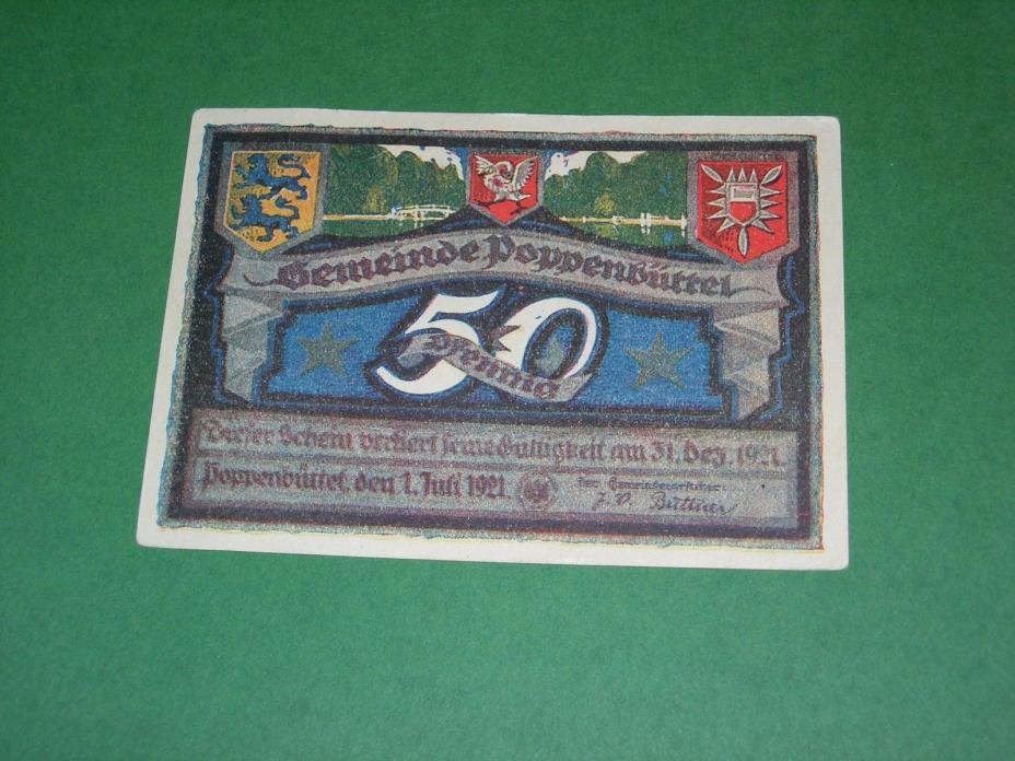 NOTGELD 1921 50 PFENNIG POPPENBUTTEL GERMANY