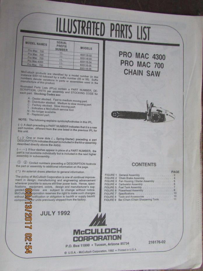 McCulloch Chainsaw Illustrated Parts List   Pro Mac 4300, 700