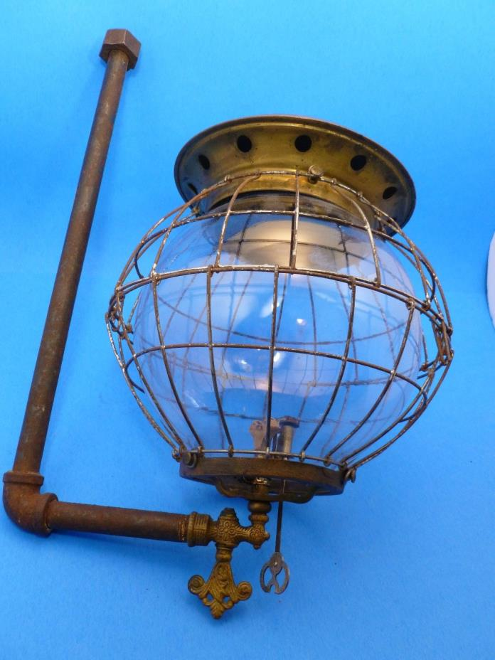 Antique Gas Light Fixture Caged Globe w/ Brass Fittings Steampunk 7