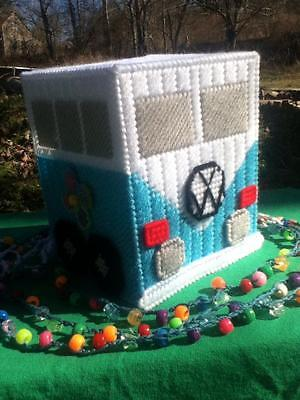 Handmade Turquoise Color VW Mini Van Tissue Box Cover...Plastic Canvas