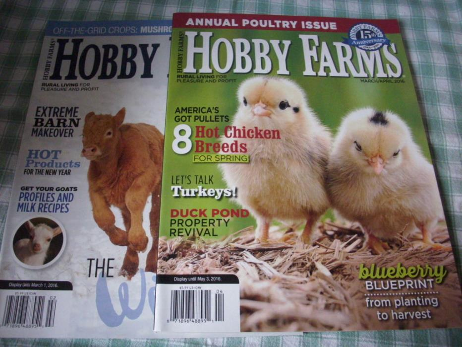Hobby Farms, lot of 2, 2016, January, March, chickens, livestock, winterize
