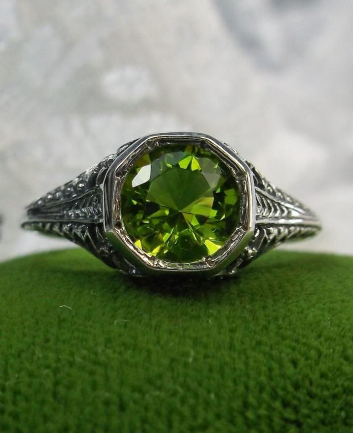 1ct *Peridot/Green* Solid Sterling Silver Edwardian Wedding Filigree Ring Size 9