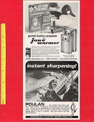 Vintage 1967 POULAN CHAIN SAW & JON-E HAND WARMER Original Print Ads