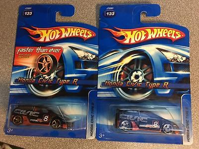 Rare hot wheels 2006 133 Honda Civic type R lot of 2. 1 faster than ever