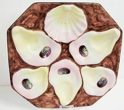 LIMOGES FRANCE HAND PAINTED OYSTER PLATE CIRCA 1870- 1890 PRISTINE CONDITION