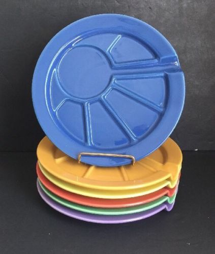Hoffritz Divided Sectional Fondue Sushi Plates Ceramic Multi-Color 9.5