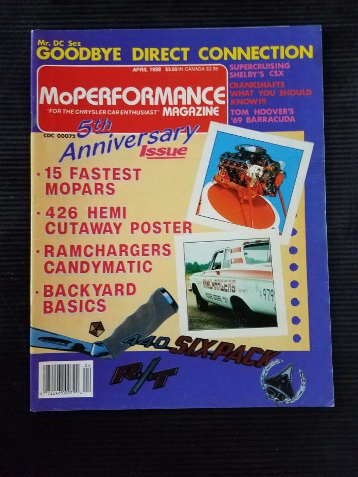 MoPerformance April 1988 - 1970 Plymouth Cuda - 1970 Dodge Dart - 1969 Barracuda