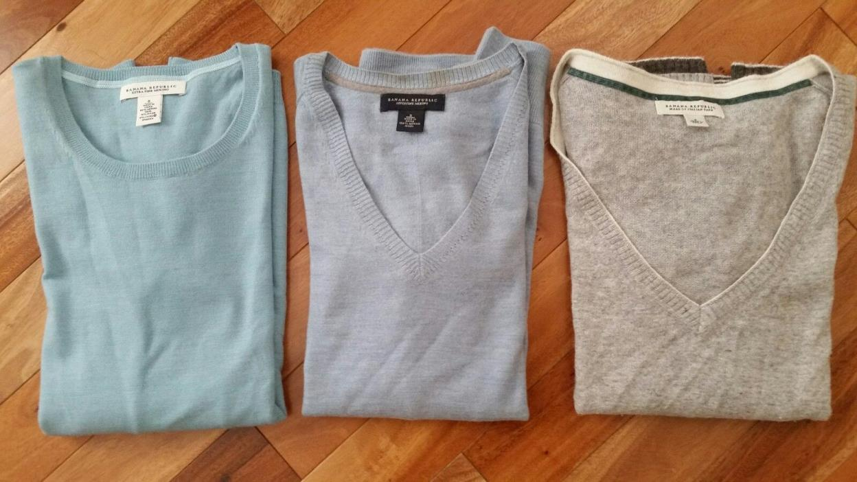 BANANA REPUBLIC Womens Merino & Italian Wool Sweater Shirt Top Blue and Gray Lot