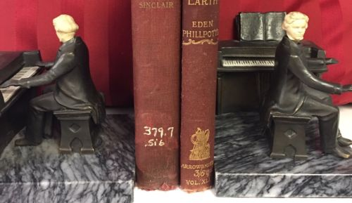 Bronze Book Ends On Marble Stand