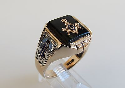 Masonic Ring 10k Yellow Gold black onyx Square sz 9.5 vtg side marking