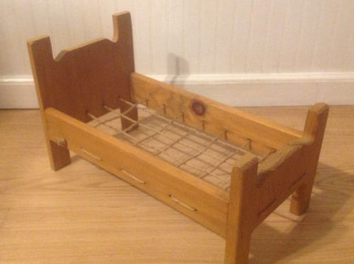 VINTAGE WOODEN DOLL BED WITH ROPING MATTRESS
