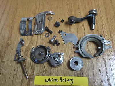 VINTAGE WHITE ROTARY TREADLE  SEWING MACHINE BOBBIN CASE & MISC PARTS