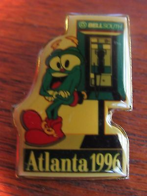 Vintage Atlanta Olympic Games 1996 BellSouth Mascot  PhoneBooth  + Flag Pins