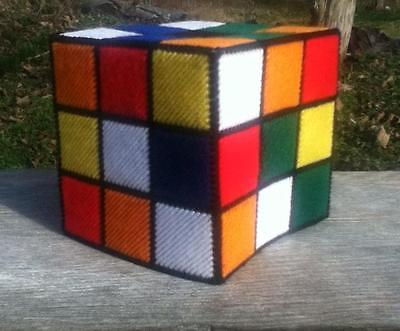 Handmade Rubix Cube Tissue Box Cover...Plastic Canvas