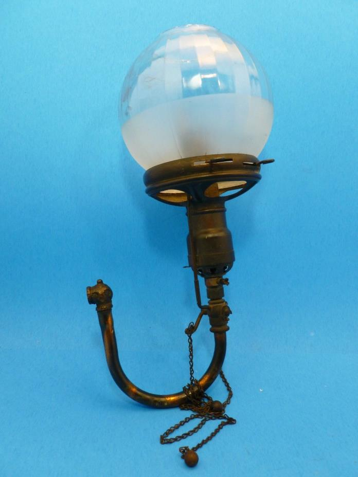 Antique Gas Light Fixture Frosted Globe w/ Copper Tubing Repair Steampunk 4.75