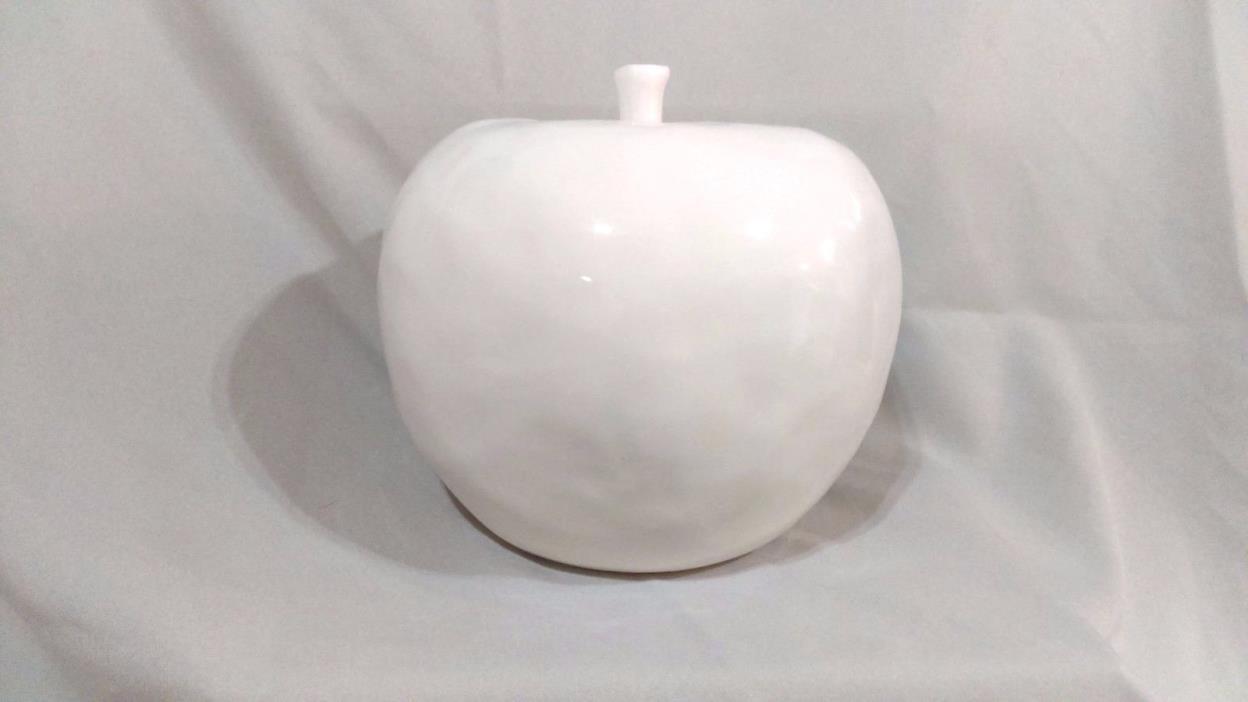 Decorative Ceramic Apple, Large, White