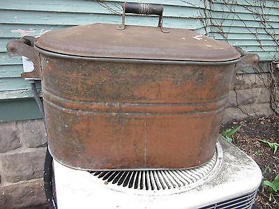 Vintage Antique Copper Boiler Wash Tub Wood Handles & Lid Still Moonshine