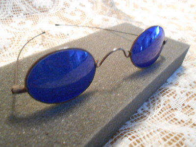 Antique Blue Lens Eyeglasses Optical Sun Glasses - Steampunk Harley Indian