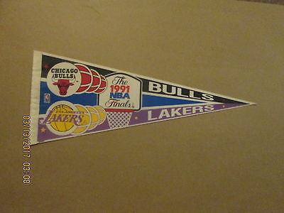 NBA Bulls Lakers Vintage The 1991 NBA Finals Logo Basketball Pennant