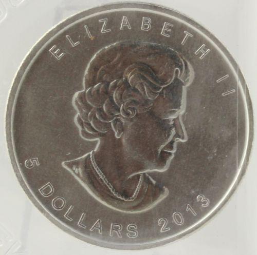 $5 Canadian Coin - Fine Silver .999 2013 Elizabeth II Investment Bullion Canada