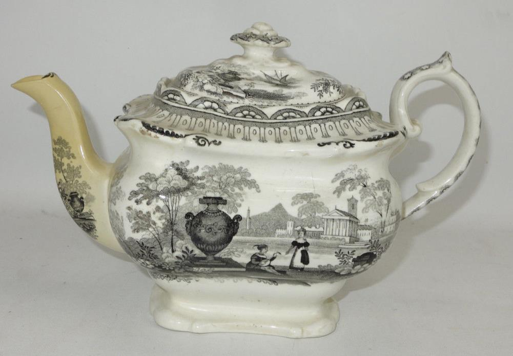 Antique Staffordshire Black Transferware Teapot As Is