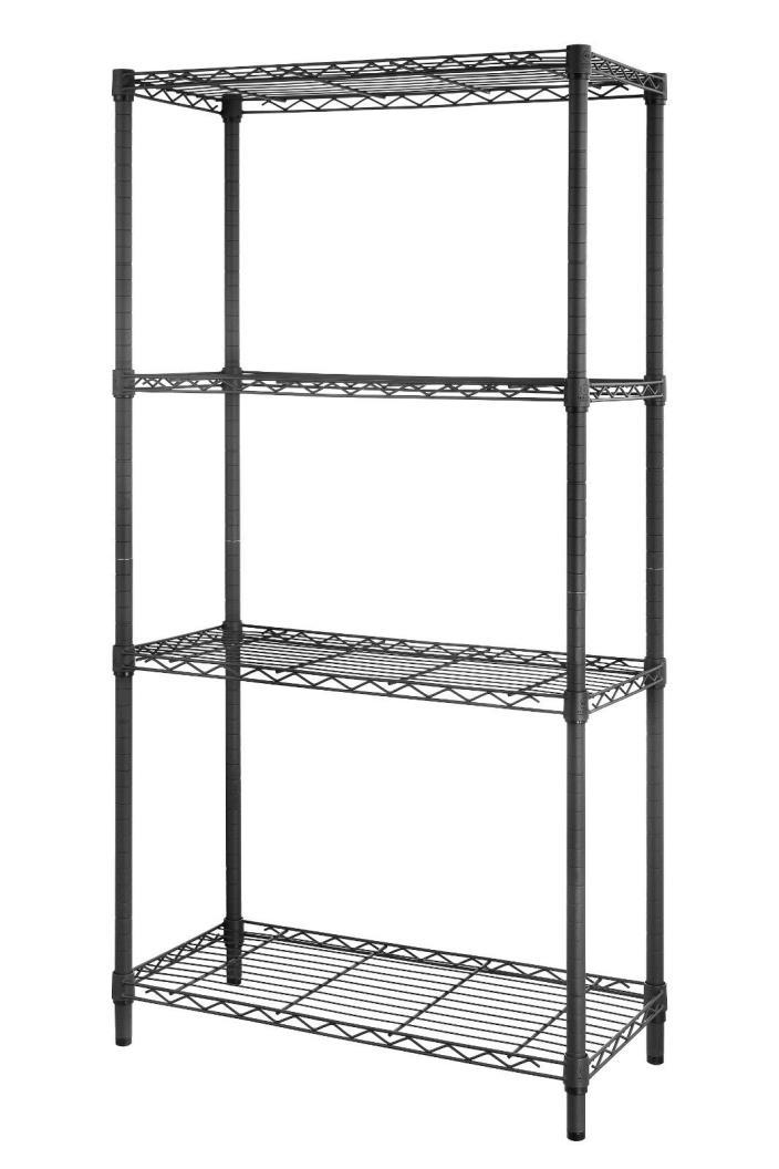 4Tire Shelf Sandy Gray Adjustable Steel Metal Wire Shelving Storage Rack 1400Lbs
