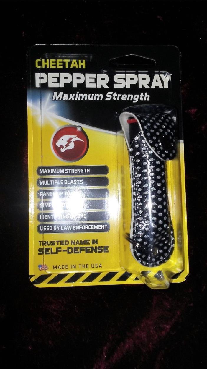 Cheetah Pepper Spray Max Strth Multi-Blast to 12' Identifying UV Dye Bling Case