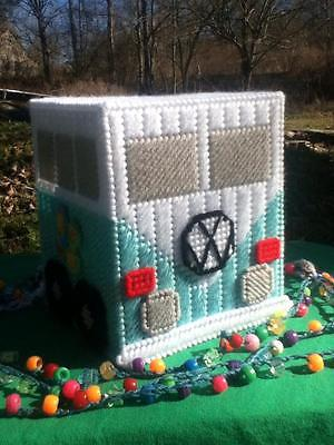 Handmade Mint Green Color VW Mini Van Tissue Box Cover...Plastic Canvas