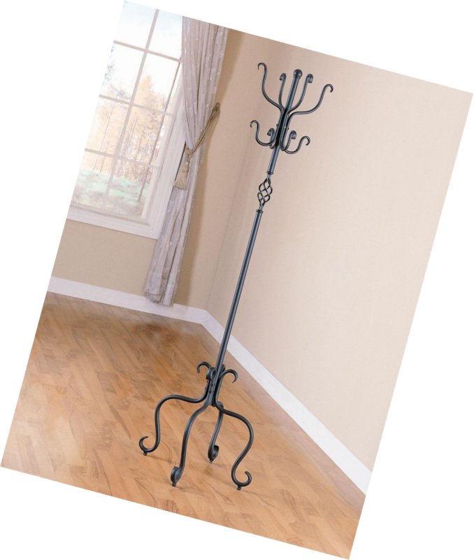 Coat Rack / Stand In Sandy Black Metal Spiral Design