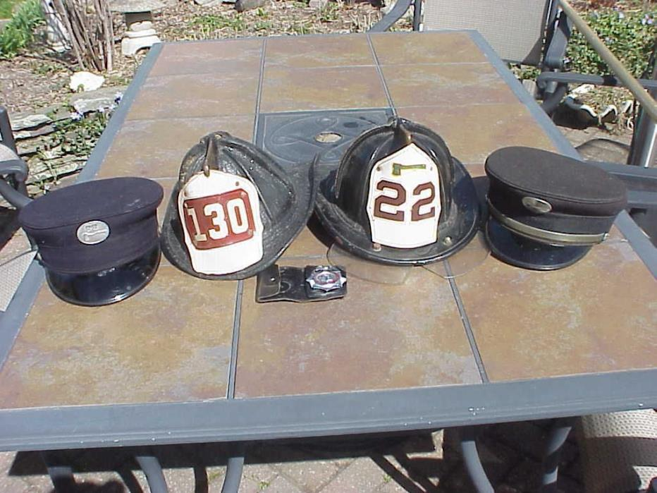 VINTAGE FDNY LEATHER CAIRNS FIRE HELMET LOT OF 2 W/ HATS AND BADGE - ONE OWNER