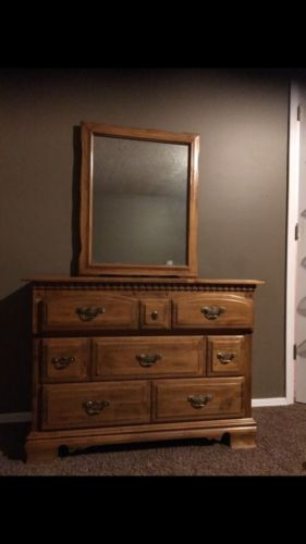 Vintage Solid Wood Dresser with Large Mirror Chest of Drawers Shabby Chic