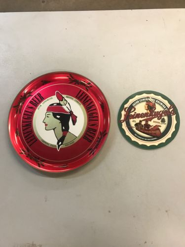 RARE VINTAGE NOS LEINENKUGELS Metal BEER TRAY & Metal Coaster